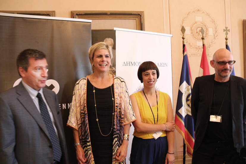 The co-founders of Athens Biennale Poka Yio and Xenia Kalpaktsoglou (on the right) with ECF President HRH Princess Laurentien of the Netherlands and the Mayor of Athens Yorgos Kaminis.  Photo © Tasos Sarellas