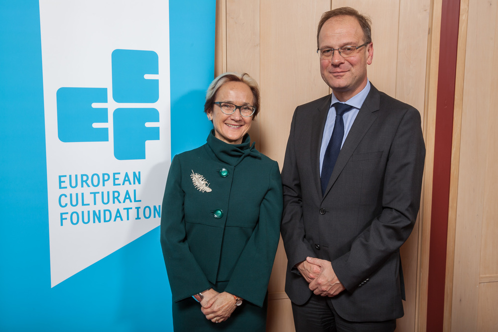 ECF Director Katherine Watson and Tibor Navracsics, EU commissioner for Education, Culture, Youth and Sport .  Photo by Xander Remkes.