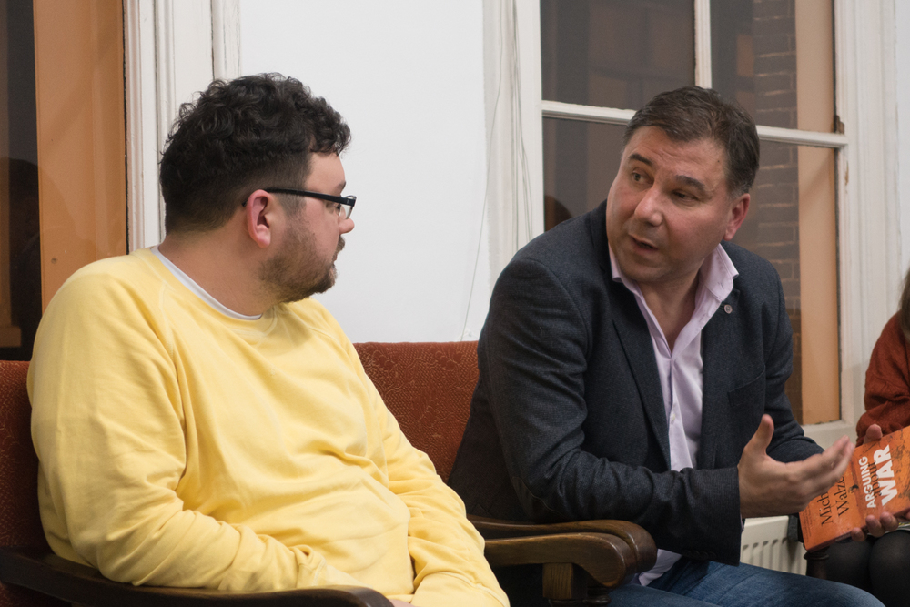 Ivan Krastev and Mykhailo Glubokyi (Izolyatsia) at a panel about Ukraine in Amsterdam, 2015.