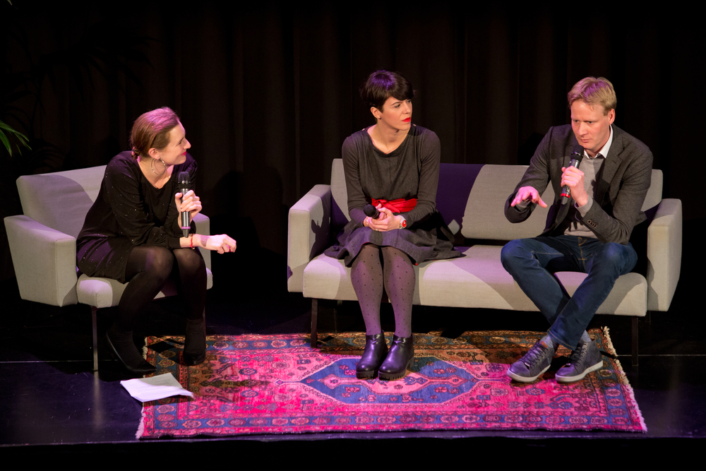 Moderator Natasja van den Berg with Antonija Eremut and Sjoerd Feitsma. Photo by Maarten van Haaff.