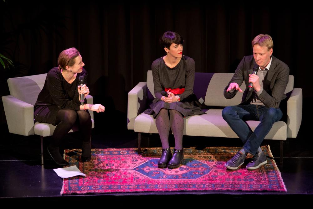 Moderator Natasja van den Berg with Antonija Eremut and Sjoerd Feitsma.Photo by Maarten van Haaff.