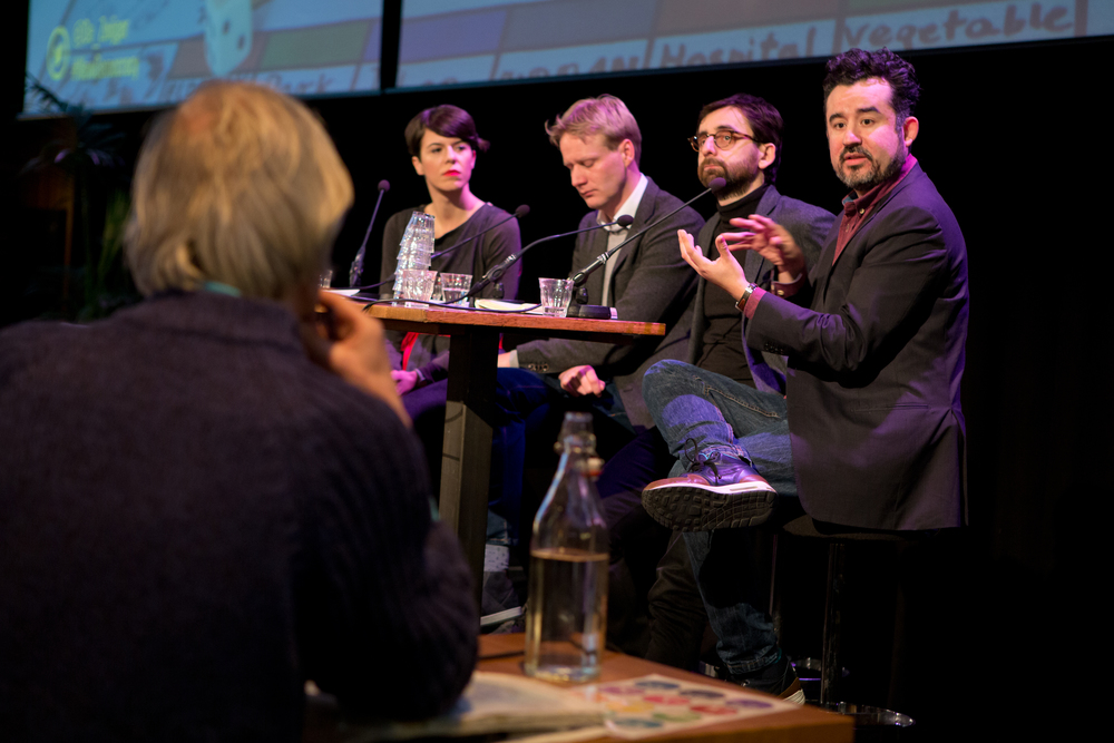 Pedro Campos Ponce responds to an audience member, next to Christian Iaione, Sjoerd Feitsma and Antonija Eremut. Photo by Maarten van Haaff.
