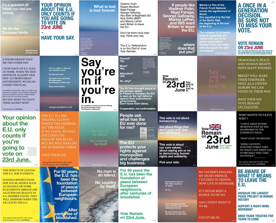 Artist Wolfgang Tillmans has designed a series of posters to encourage people to vote Remain. Find out more on his website.