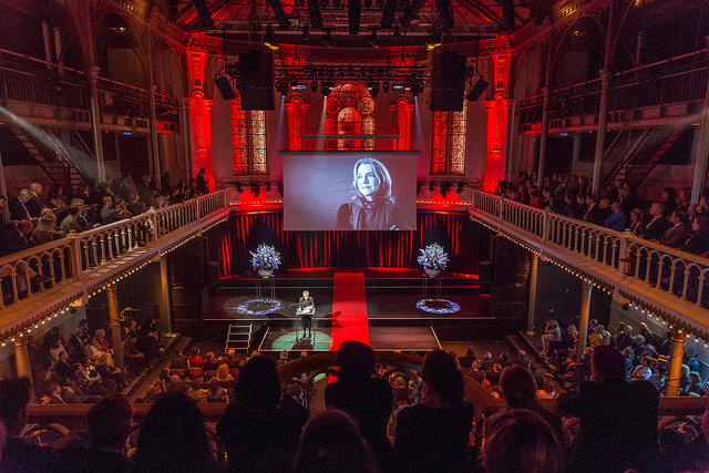 Ruth Mackenzie reading the jury statement during the 2017 ECF Princess Margriet Award for Culture ceremony at Paradiso Amsterdam. Photo by Xander Remkes.