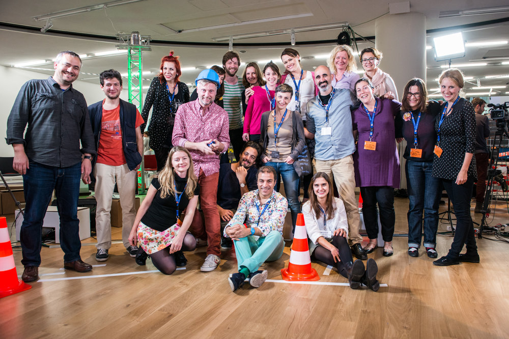 Our team and the Connected Action for the Commons Hubs at the Idea Camp in Marseille (2014). Photo by Cédric Moulard.