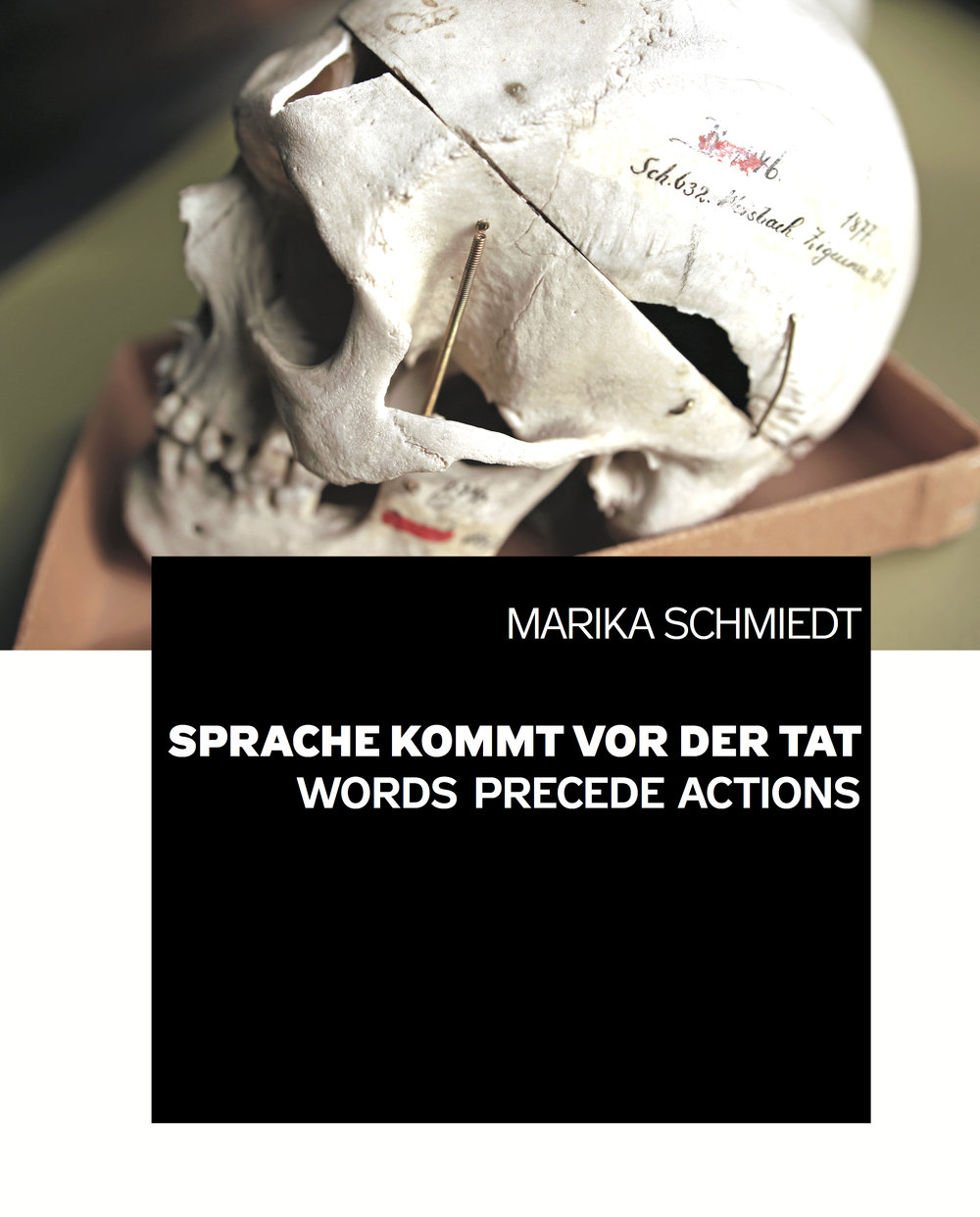 Catalogue,  Words precede actions. The context of language, racism, economy and power, 196 pages (German/English), 24 × 30 cm, numerous b/w and colour illustrations, 2018.   https://marikaschmiedt.com/ausstellung-sprache-kommt-vor-der-tat/