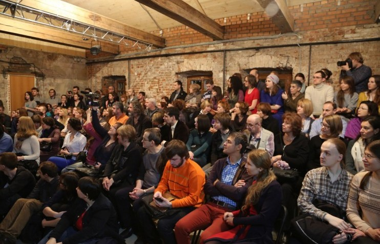The audience at the opening of Teatr.doc's venue at 3 Spartakovskaya street. Photo by Oleg Karlson.