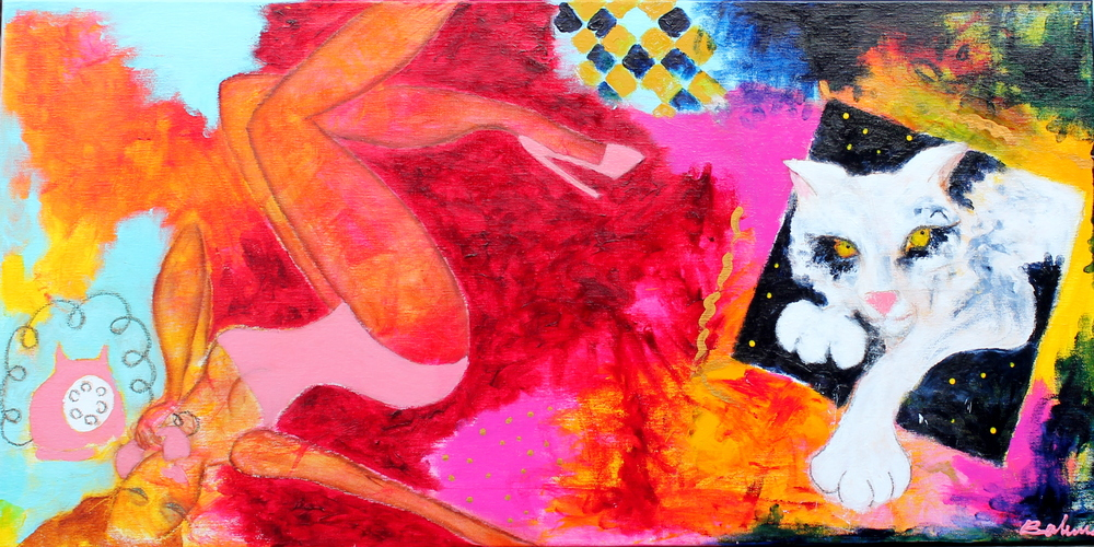 """Jeannie Bolunds bidrag til udstillingen. Maleri """"Sweet escape"""""""