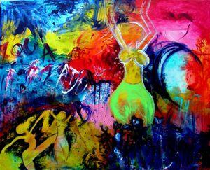 """""""For enden af regnbuen""""  130 x 150 cm.  kr.: 19.500,-"""