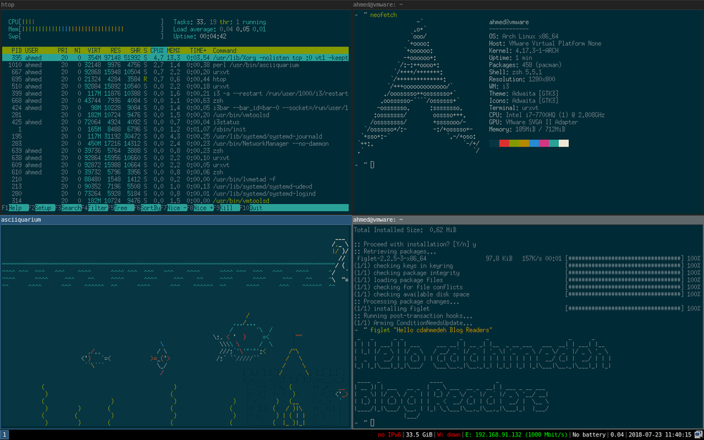 My souped-up Arch Linux i3 Desktop running in VMWare. One thing you can't argue about, Linux is cool.