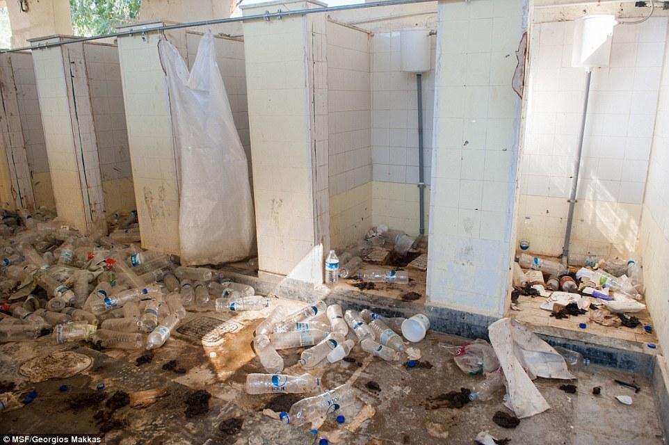 Men's toilets at Moria
