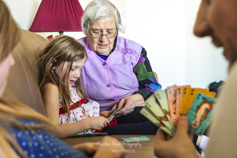 playing cards with great grandma