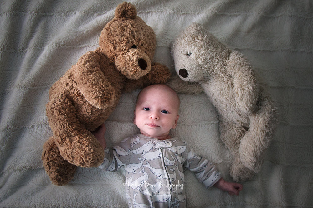 nostalgic newborn with bears