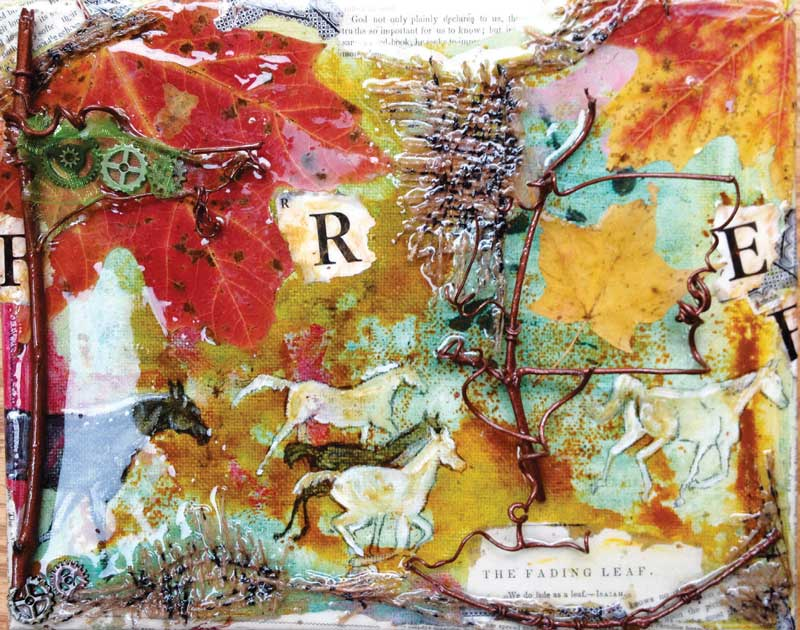 """The Fading Leaf"" (multimedia on canvas) is part of a series of horse paintings that will be auctioned in support of ""Return to Freedom"" — a nonprofit that is dedicated to preserving the freedom, diversity, and habitat of wild horses. Art therapists around the U.S. are creating art fundraisers for humanitarian projects."