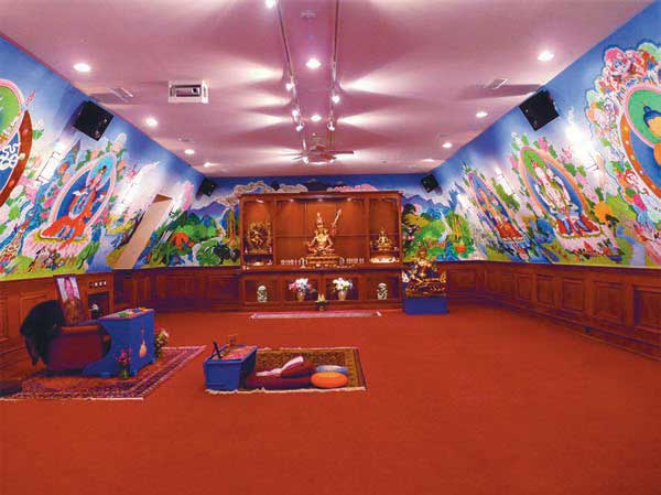 Tsogyelgar shrine room, which contains the largest tantric murals in North America created by B. Love (Rob Davis) and Traktung Rinpoche. For more detail, visit: tsogyelgar.org/art-galleries/2016/1/7/the-shrine-room-at-tsogyelga