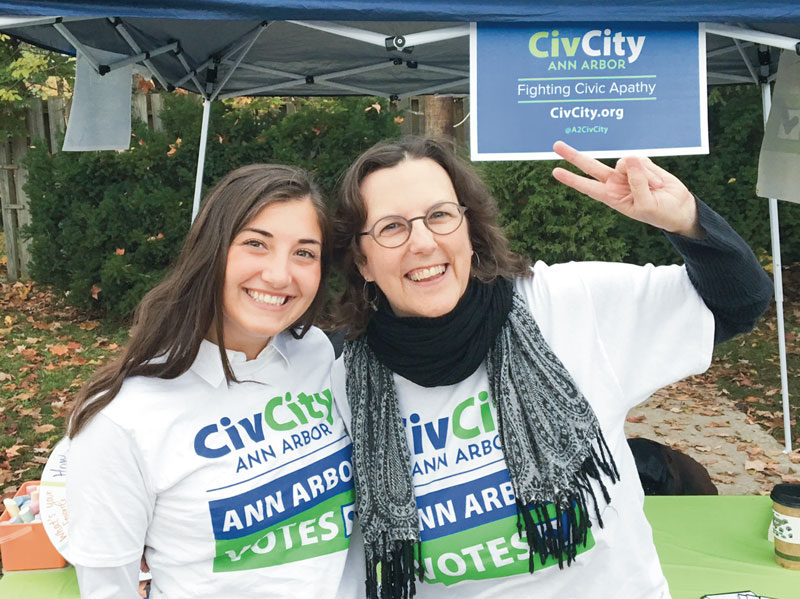 CivCity intern Meghan Cuneo, left, with Mary Morgan at CivCity's Party at The Polls outside of the Slauson Middle School polling location on Election Day, Nov. 8, 2016