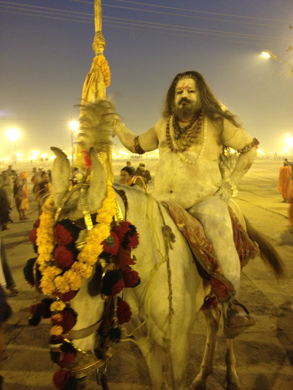 One of the Naga Sadhus parading down to the Sangam to bathe on the new moon