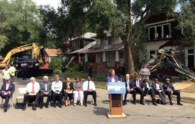 Blight Elimination Program kick-off event in Detroit.  Under Secretary for Domestic Finance Mary Miller speaks at event hosted by the Michigan State Housing Development Authority to kick off the kick-off  in Detroit, Michigan. (Photo: U.S. Department of Treasury Flickr photo)