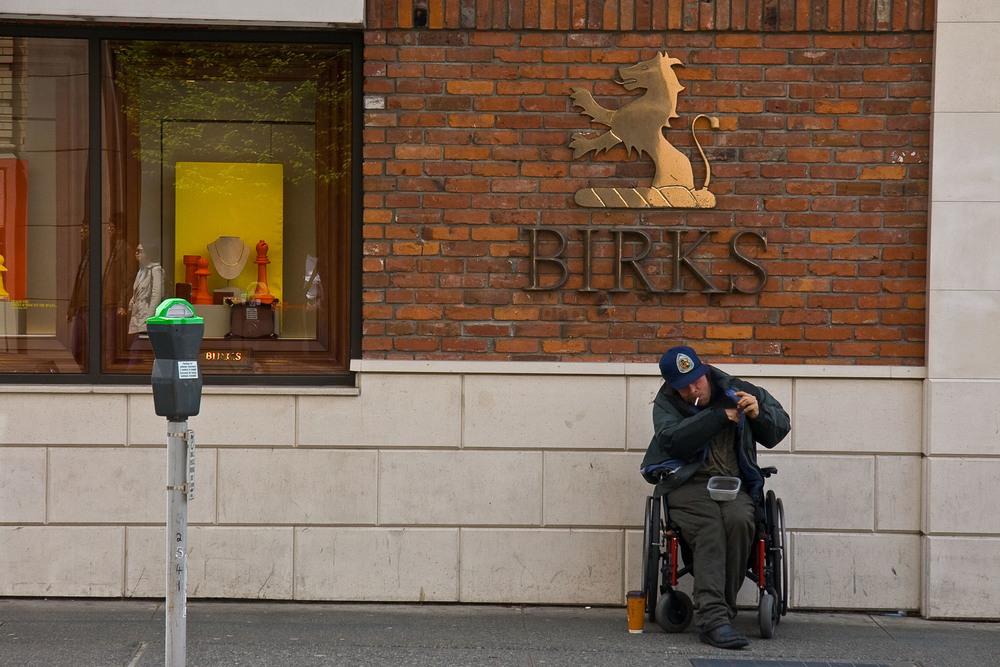 Begging at Birks, Victoria B.C