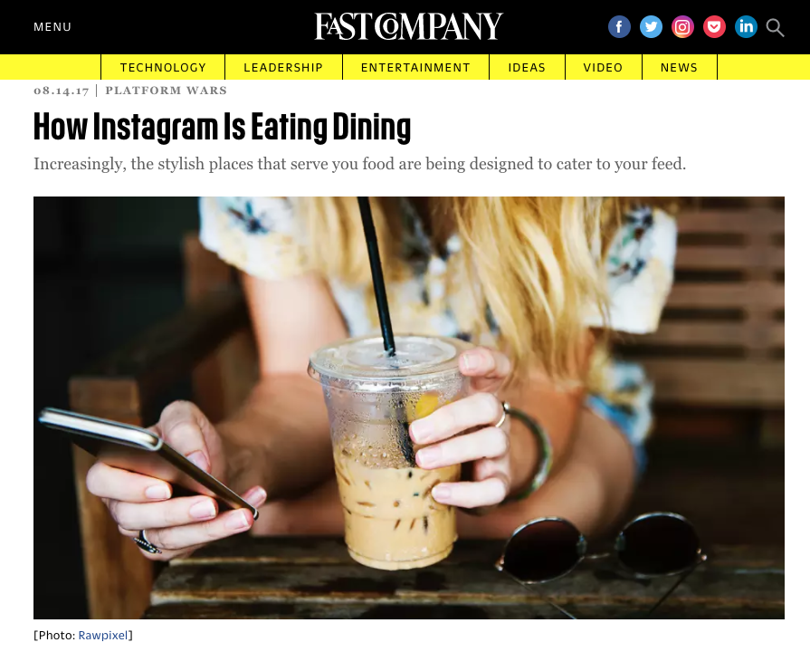 I looked into how Instagram is changing the way we eat for Fast Company.  -