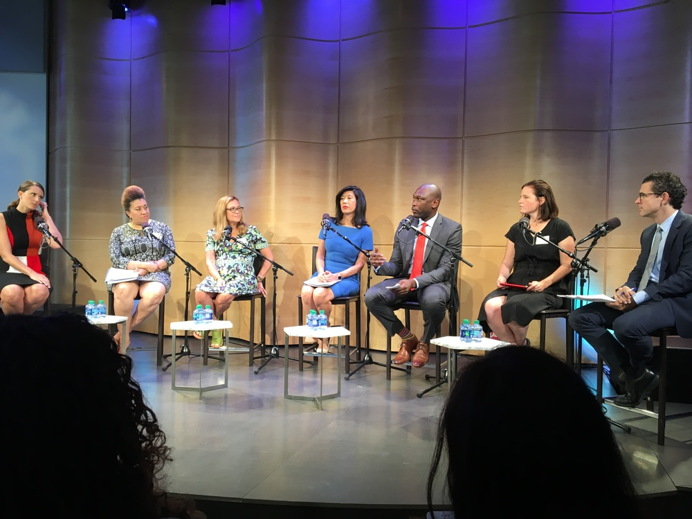 From left to right: Erin Andrew, Director, US Small Business Administration's Office of Women's Business Ownership; Monique Greenwood, Owner & CEO, Akwaaba; Laurie Fabiano, President, Tory Burch Foundation; Andrea Jung, President & CEO, Grameen America; Gregg Bishop, Commissioner, NYC Department of Small Business Services; Lexy Funk, Co-Founder & CEO, Brooklyn Industries; Jonathan Bowles, Executive Director, Center for an Urban Future.