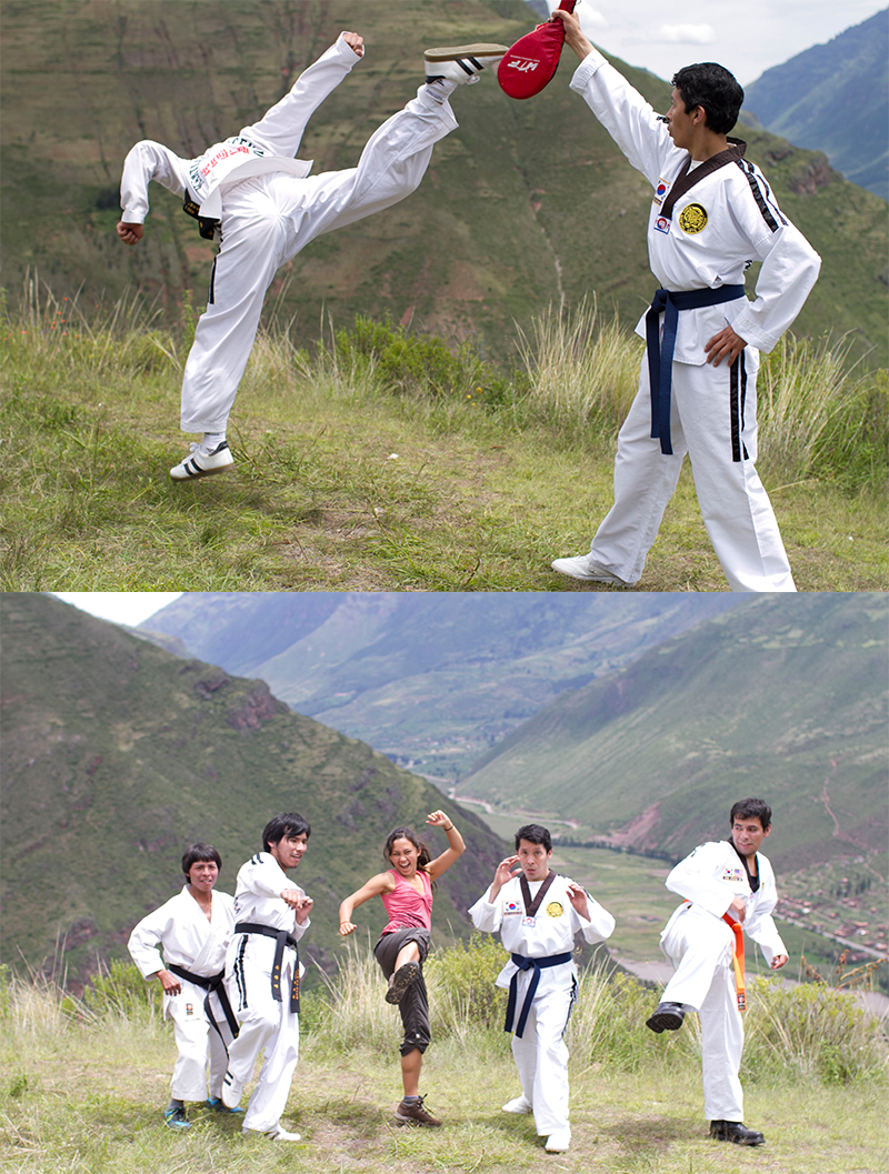 Right when we got to the other side of the mountain, we found these new friends practicing taekwondo.  So naturally, we joined them.