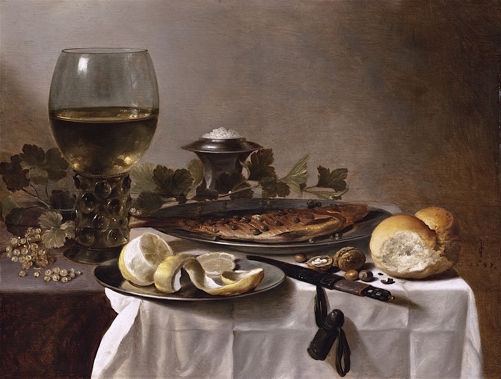 Petier Claesz, Still Life with Herring, Wine, and Bread