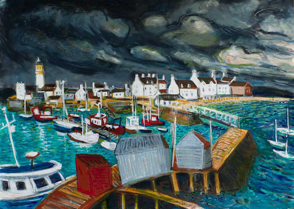 Cromarty Harbour, oil pastel