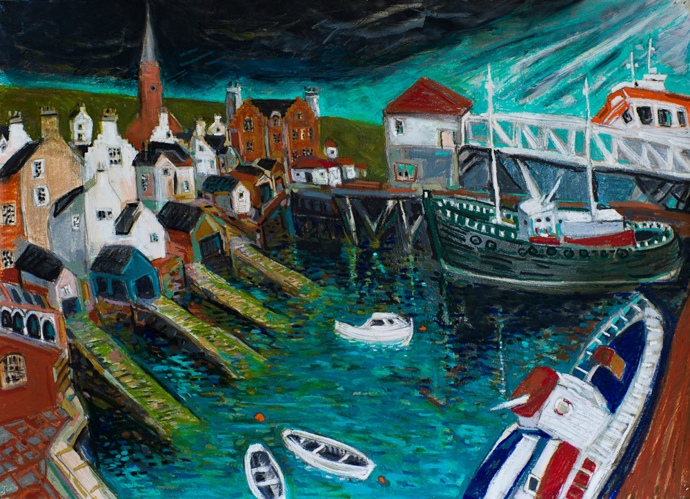 Stromness Harbour #2, oil pastel