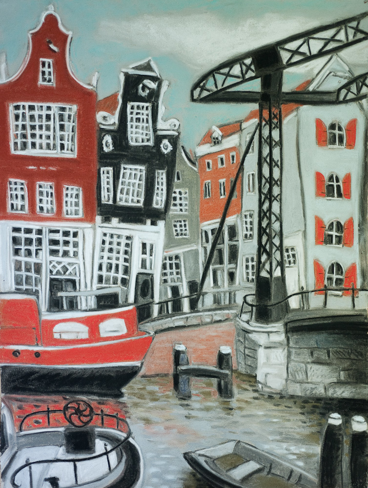 Amsterdam Canal with Orange Barge, pastel 24x18