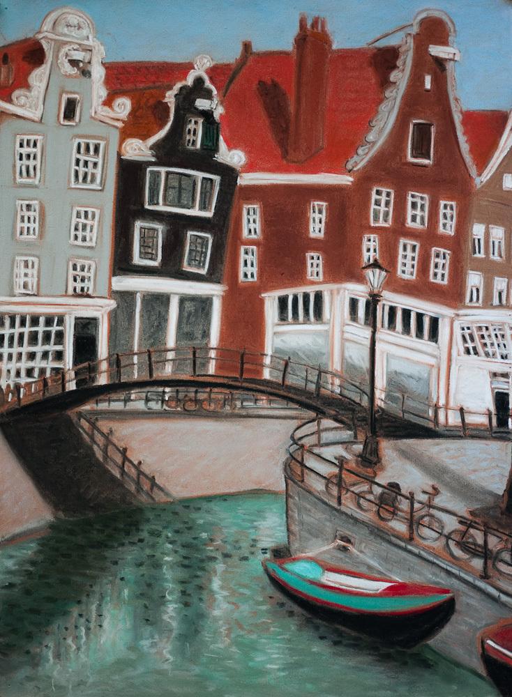 Amsterdam Canals, Pedestrian Bridge, pastel 24x18,