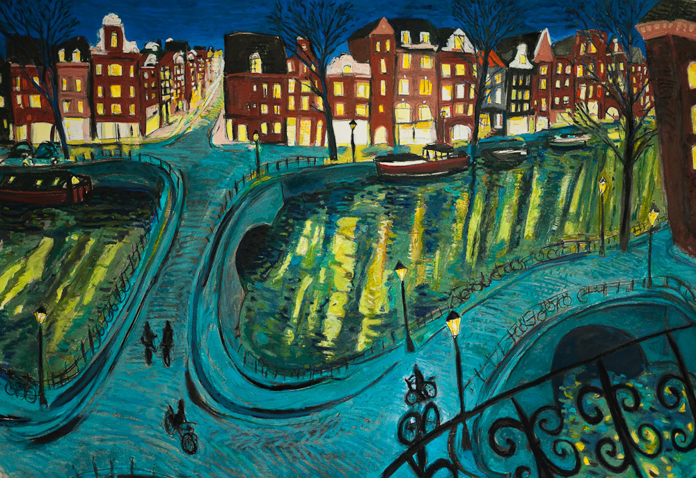 Amsterdam Canal Night View, oil pastel, 30x44