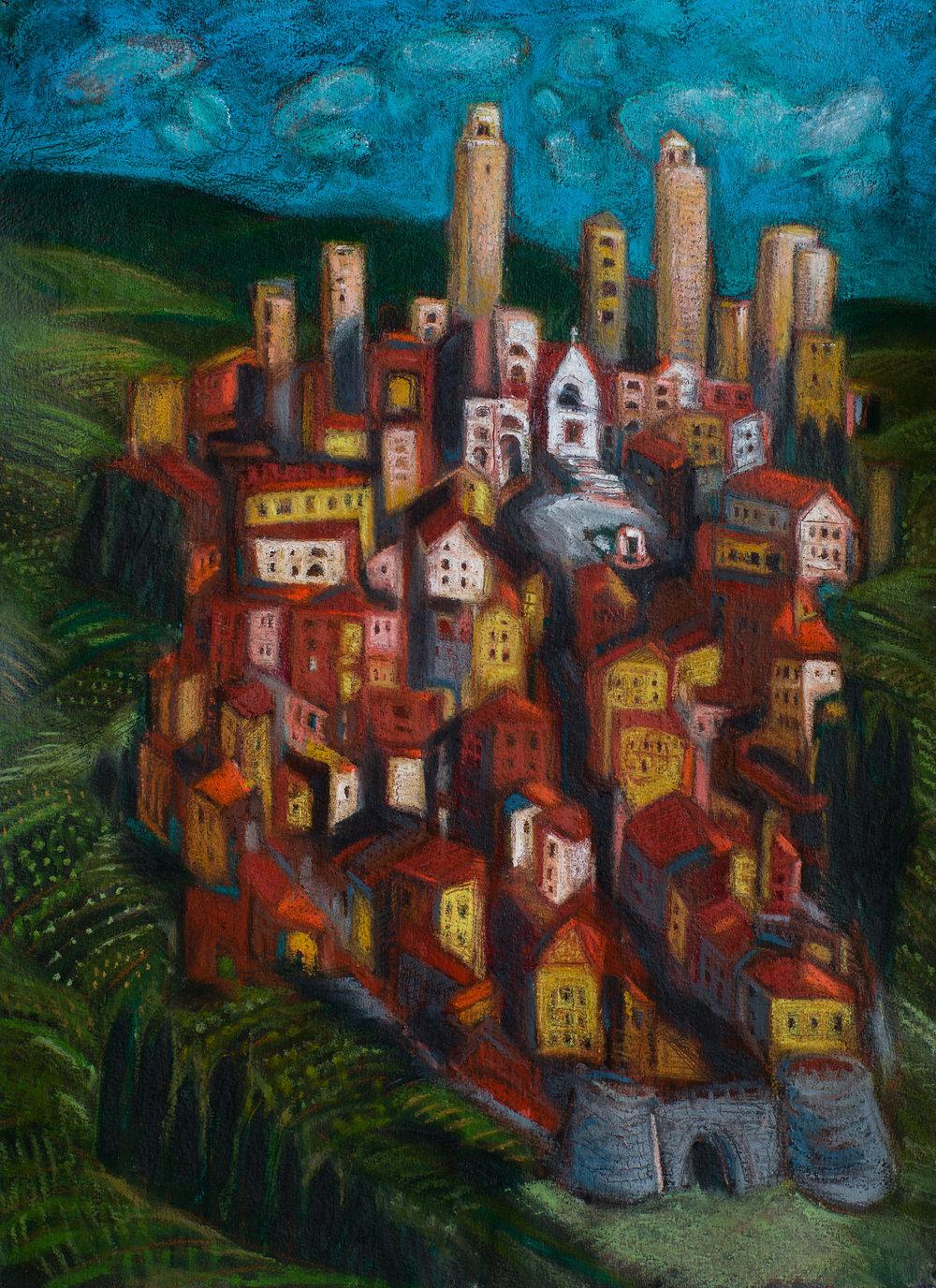 San Gimignano #2 oil pastel 22x30.jpg