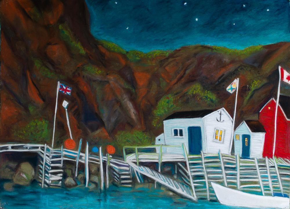 Quidi Vidi Stars, Newfoundland. pastel 22x30