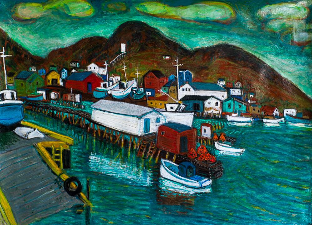 Petty Harbour #1, Newfoundland, oil pastel 22x30