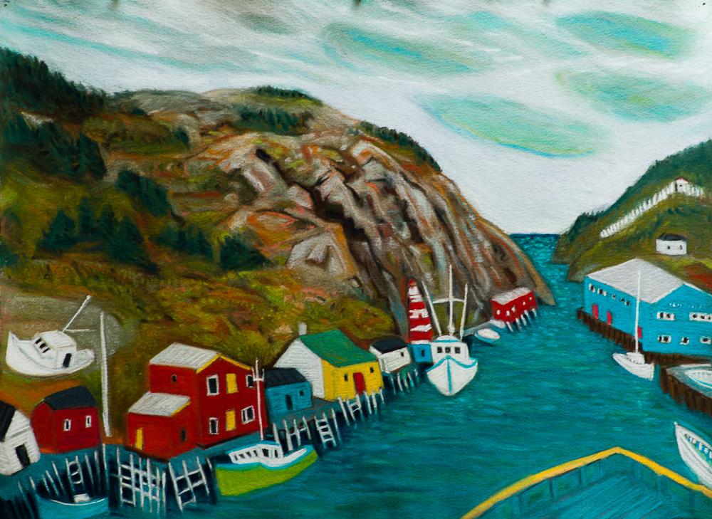 Quidi Vidi Harbour 22x30 pastel