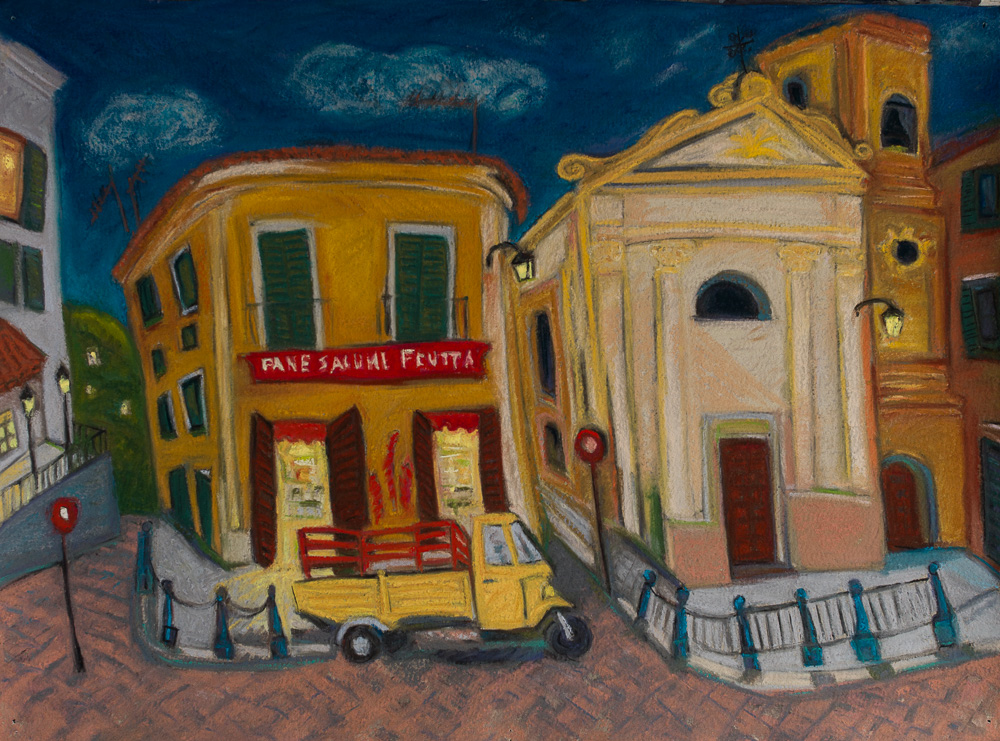 Night Delivery, Taormina Italy, pastel 22x30.jpg