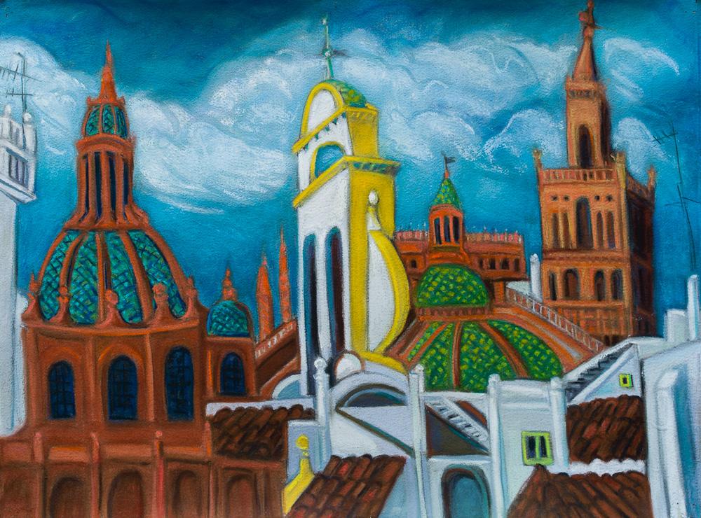 Seville Rooftops #1, pastel 22x30 2016.jpg
