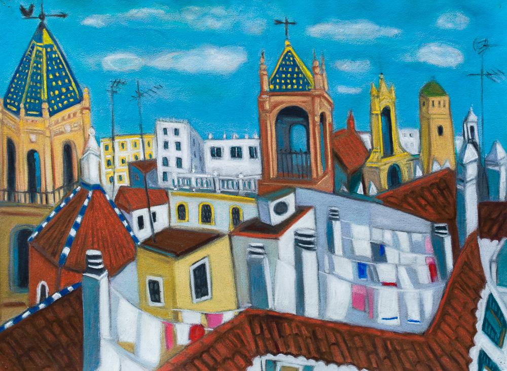 Seville Rooftops #2, pastel 22x30. 2016.jpg