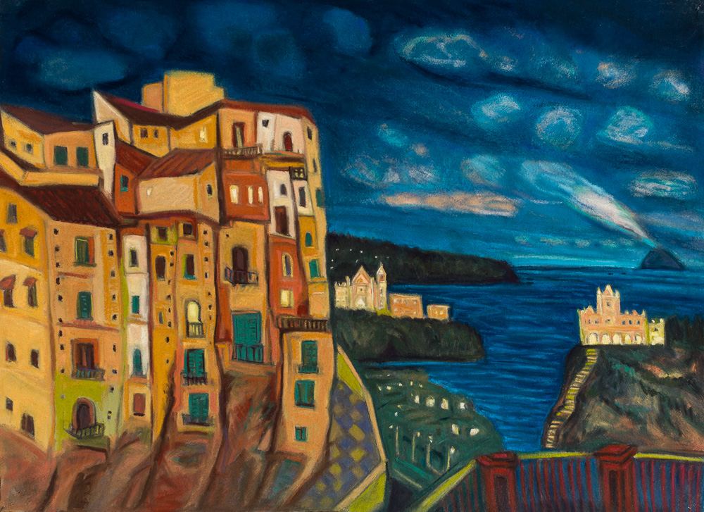 View to Stromboli, Taormina pastel 22x30.jpg