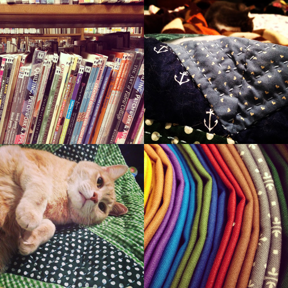 1) So many quilting books to distract me at work... 2) My favorite place, in bed, with cats, quilting. 3) My helpers are very helpful. I don't even need interns. 4) SO many solids!!