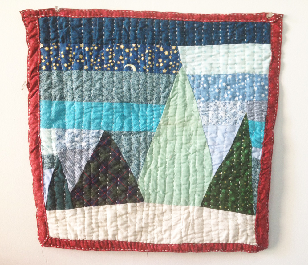Four Trees mini mini quilt.