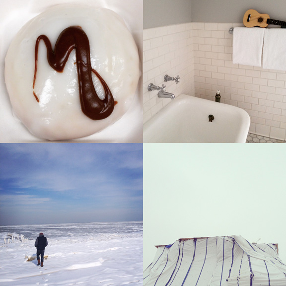 1) This (black and) white cookie has my name on it. 2) I wanted to take this tub home with us. 3) Frozen bay visits. 4) White tarps, white skies.