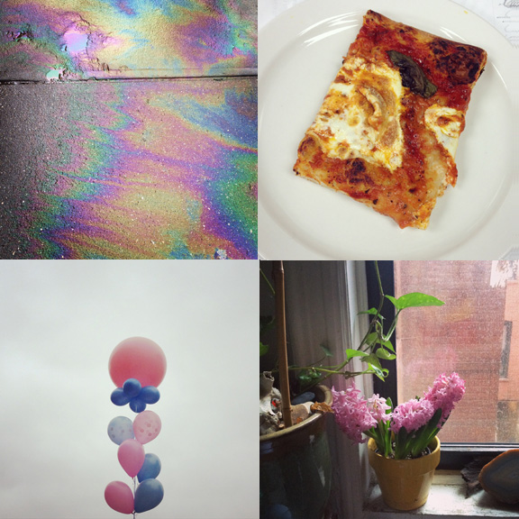 1) Rainbows on the ground. 2) Pizza day. 3) Spring in spirit. 4) More pink.