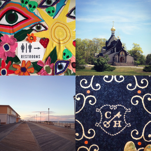 1) Yarn bombing at Convention Hall. 2) Gold caps in Howell, NJ. 3) Dreamy sunsets on the Asbury Park boardwalk. 4) Fancy carpets in Cape May, NJ.