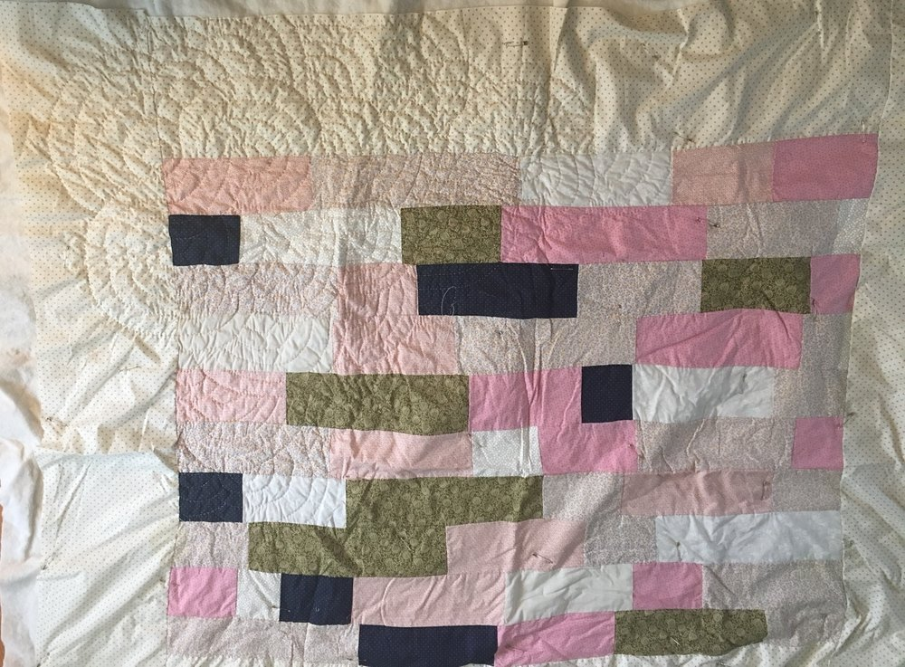 The front uses a lot of vintage fabric, all calicos! This was my first attempt at an all calico quilt and is a very old quilt top for me. I can't wait to have it finished and out of the house!