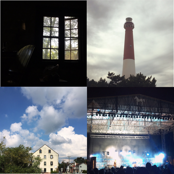 1) Cabin life. 2) Light house views. 3) New towns. 4) Showtime!