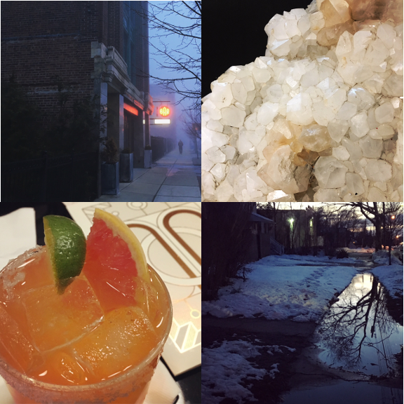 1) Spooky streets. 2) Rock candy. 3) Celebrating Spring Break. 4) Illuminated walks home.