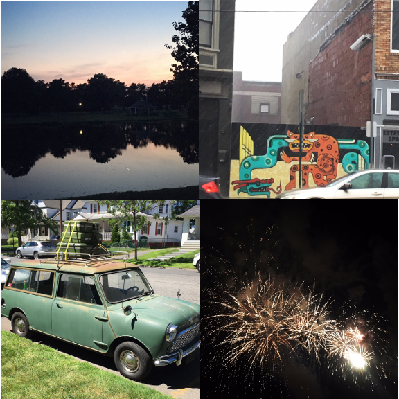 1) Sunset at the Lake with my father. 2) New cat in town. 3) Where is this mini car going and can I go too? 4) Asbury Park does the fourth right.