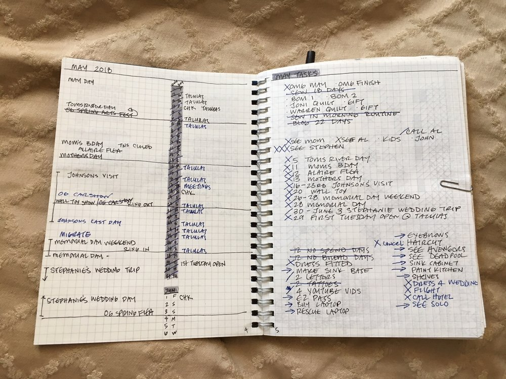 The first page of each month is a monthly calendar overview and my task lists. Here I'll show two months so you can see how I migrate over, or repeat tasks month to month.